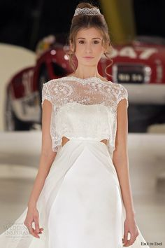 eme di eme 2014 meda wedding dress cutout cap sleeve top close up