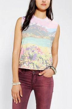 Blackstone Mountain Range Cropped Muscle Tee | $20 urban outfitters