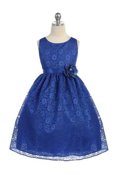 Royal Blue Lovely Floral Lace Flower Girl Dress  CA-D749-RB on www.GirlsDressLine.Com