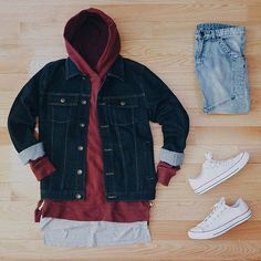 Outfit grid - Denim and layers Outfits With Converse, Dope Outfits, Casual Outfits, Fashion Outfits, Converse Chuck, Style Streetwear, Streetwear Fashion, Stylish Men, Men Casual