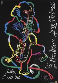 poster by Rolf Knie, 1996 These past couple of weeks have been strangely quiet around here, as you may have noticed. Festival Jazz, Montreux Jazz Festival, Festival Posters, Concert Posters, Musikfestival Poster, Festival Avignon, Jazz Concert, Rhapsody In Blue, Jazz Art