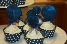 "Like these for any event with a BLUE theme...HOW FUN and cute !!!!  Cupcake Toppers Decor ~  Created By:  ""Showered In Love""  Link Below..."