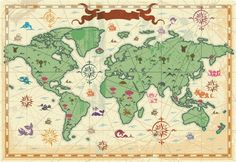 Chaoran Tablecloth Wanderlust Decor Collection Retro Syle Map of the World with Trees Volcanos and Mountains Ancient Boho Artprint Extra Long Cream Green Holiday Home Decorative Antique World Map, Vintage World Maps, Map Old, Egypt Map, Kids World Map, World Map Wallpaper, Smart Art, Map Vector, Canvas Prints
