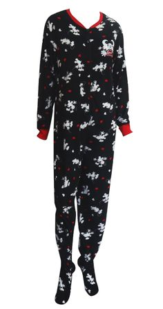 248c200d19 Disney s Mickey Mouse Black Onesie Footie Pajama The perfect jammies for  any Disney fan! These pajamas for women feature Disney.