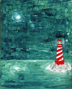 """""""Starry Night""""  ORIGINAL Acrylic Painting by RuthOosterman, $50.00  This original, acrylic painting, """"Starry Night"""" is of a bright red and white striped lighthouse that is settled on a bed of rocks with a staircase leading down to the water. It is a quiet night on the ocean with the stars and moon lighting up the sky, the calm before the storm.   Although this makes a wonderful addition to a children's bedroom or nursery decor it can also be perfect for any room of the house! Starry Night Original, Starry Night Art, Nursery Prints, Nursery Decor, Calm Before The Storm, Star Decorations, Stars And Moon, Mosaic Glass, Moonlight"""