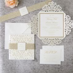Romantic White Ivory Laser Cut Wedding Invitations with Gold Glitter Belly Band, spring, fall, winter, elegant wedding invitations This stunning Petal Laser Cut Pocket Invitation bursts w# Band Laser Cut Invitation, Laser Cut Wedding Invitations, Gold Invitations, Wedding Invitation Wording, Invitation Set, Pocket Invitation, Elegant Invitations, Wedding Stationery, Fall Wedding Colors