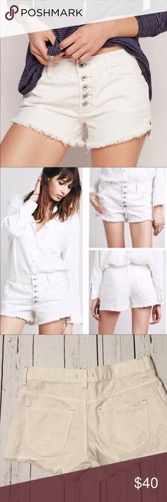 """Free People 'Runaway' Cutoff Denim Shorts Pre-owned in a great condition   Size:24 Color: Polar white   Measurements Approx: Waist: 15"""" Rise: 8.5""""  Any questions please let me know thank you Free People Shorts"""