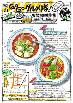 Japanese food illustration from Okayama Go Go Gourmet Corps (ernie.exblog.jp/) Doodle Drawings, Drawing Sketches, Food Catalog, Food Map, Okayama, Food Drawing, Dim Sum, Food Illustrations, Korean Food