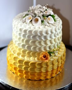 Yellow Ombre petal cake with calla lily gum paste topper - cake I did for an anniversary