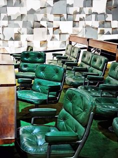 Green Lobby chairs ES108 | #Eames