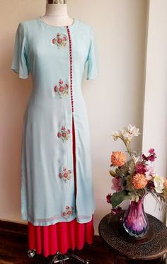 Powder Blue Kurta with Gota Patti bootas and Front slit combined with Fuschia Pink Skirt