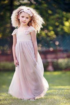 Rosemary Flower Girl Antique Blush Dress