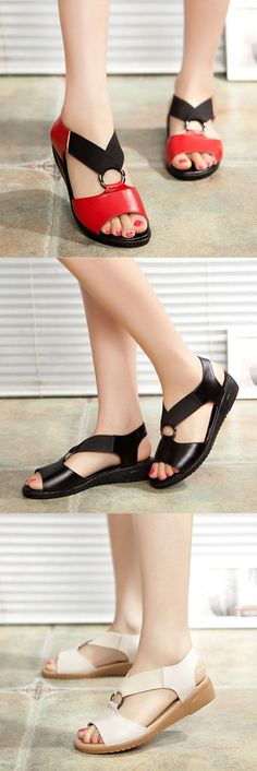 Leather Elastic Band Comfortable Soft Sole Flat Casual Sandals