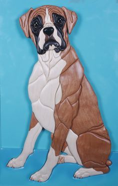 Boxer Intarsia Wood Sculpture by KathyWiseDesigns on Etsy