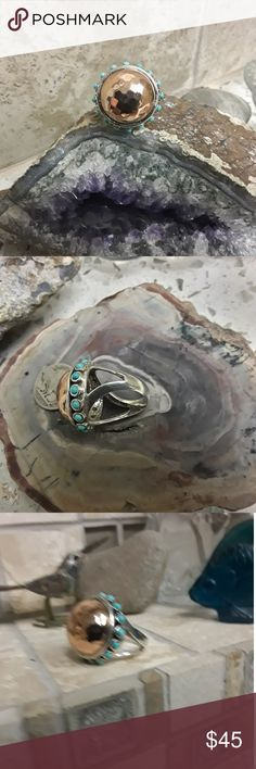 Barse Sterling/Copper Dome Ring w/Turquoise Stamped & Signed. Nice weight to this ring. Barse Jewelry Rings