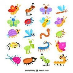 Colección de los insectos de colores Vector Gratis