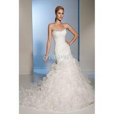 Tiefe Taile Tüll Herz-Ausschnitt bodenlanges formelles Brautkleid mit Falte Mieder