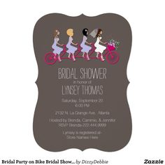 Bridal Party on Bike Bridal Shower Invitation Custom Announcement