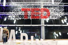 Michael Murphy created a hanging installation of the TED logo at last year's annual conference in Vancouver with neoprene balls, monofilament, and steel mesh.