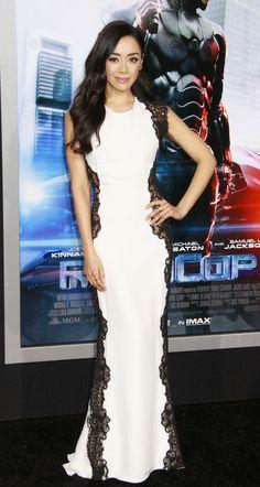 "Aimee Garcia in a black and white Lorena Sarbu dress at the LA premiere of ""Robocop"" | Trend 911"