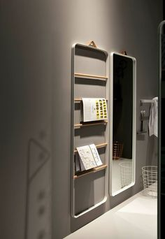 The norm floor mirror from menu is another minimalist design by norm architects with sleek clean lines. This beautiful mirror is portable and functional. Etagere Design, Design Apartment, Floor Mirror, Interiores Design, Bathroom Accessories, Interior Architecture, Shelving, Locker Storage, Furniture Design