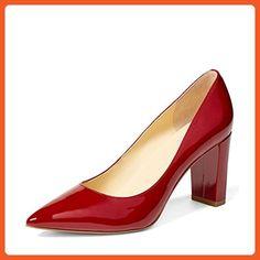 7b56d91b6e3 YDN Women s Classic Pointy Toe OL Pumps Slip-on Patent Leather Block Heel  Dress Shoes