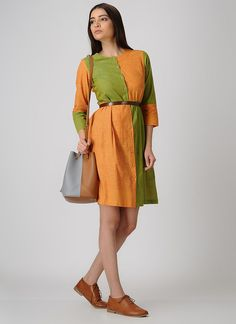 Buy ANAN Yellow-Green Front-open Cotton Dress with Pleats online Desi Wear, Western Dresses, Cotton Dresses, Hue, Wrap Dress, Dresses For Work, Designer Kurtis, Clothes For Women, Yellow