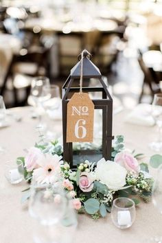 pink and white rustic chic centerpiece and table number