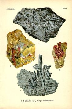 Vintage 1911 Minerals Print Antique Gems by VintageInclination, $20.50