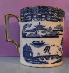 Georgian Pearlware Staffordshire Mug Transfer Printed Long Bridge Patt 18th Cent in Pottery, Porcelain & Glass, Date-Lined Ceramics, Pre-c.1840 | eBay