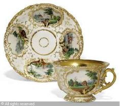 KORNILOV PORCELAIN MANUFACTURE - RUSSIAN TEACUP AND SAUCER