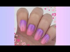Purple and pink ombre Valentine nails