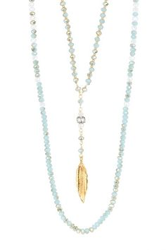 Chan Luu Feather Pendant & Crystal Beaded Double Strand Necklace by Assorted on @HauteLook