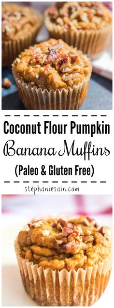 These Coconut Flour Pumpkin Banana Muffins are flavored with all the Fall seasonings. Deliciously moist easy to prepare and a great healthy breakfast or snack. Also perfect for lunch boxes. Paleo GF & No Added Refined Sugars. These Coconut Flour Paleo Pumpkin Muffins, Pumpkin Banana Bread, Healthy Banana Muffins, Healthy Breakfast Muffins, Gluten Free Pumpkin, Healthy Pumpkin, Healthy Muffins For Kids, Banana Breakfast, Vegan Pumpkin