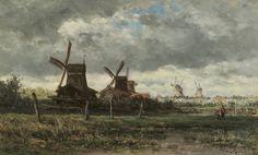 Willem Roelofs - Landschap met paltrokmolens en twee vissersfiguren
