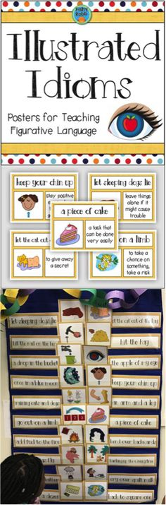 These idioms posters make a great matching activity! Cut them apart and have students match the idiom, meaning, and picture. What a fun what to teach figurative language in third and fourth grade!