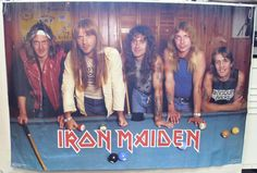 Vintage Billiard Posters | Iron Maiden Pool Poster RARE 1980s Original Vintage 23x34 | eBay