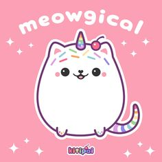kawaii magical kitty cat unicorn with a cherry on top Cute Kawaii Drawings, Kawaii Doodles, Cute Animal Drawings, Kawaii Art, Kawaii Anime, Unicorn Drawing, Unicorn Cat, Cute Unicorn, Cute Images