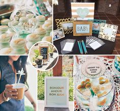 """This Mint & Metallic """"Baby Love"""" Shower is so COOL for a baby boy-to-be! Gold animals, delicious food and whimsical flair... #BabyShower"""