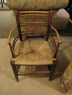 Beautiful ARM Chair Rush Seat 1850s? ALL ORIGINAL BAMBOO STYLE