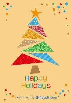 Tarjeta de felicitación de Buenas fiestas de un colorido árbol de Navidad