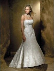 Satin Softly Curved Neckline Embroidered Bodice A-line Wedding Dress