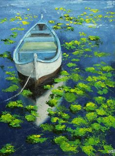Boat painting 37 18x24 inch original landscape by RozArt on Etsy, $220.00