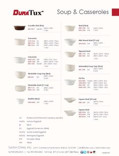 Soup & Casseroles Collection from DuraTux by Tuxton China