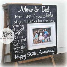 Anniversary Gifts for Parents, Golden Wedding Anniversary Present, 50th Annivers...#50th #annivers #anniversary #gifts #golden #parents #present #wedding Golden Wedding Anniversary Gifts, First Wedding Anniversary Gift, Anniversary Gifts For Parents, Anniversary Parties, Wedding Flower Decorations, Party, Etsy, Caption Quotes, Outdoor Gardens