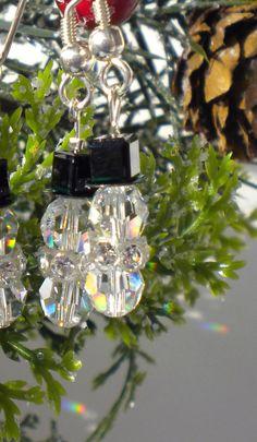 Christmas Snowmen Earrings Swarovski Crystal by MagdaleneJewels, $10.00