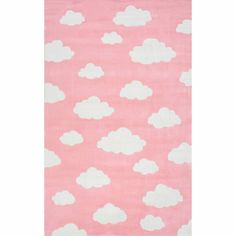 Viv + Rae Lily Cloudy Sachiko Hand-Tufted Pink Area Rug & Reviews | Wayfair Pink And Blue Rug, Pink Rug, Blue Rugs, Baby Blue, Kids Area Rugs, Shapes For Kids, Clouds Pattern, Area Rug Sizes, Chiffon