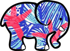 006516d299190 Ivory Ella Elephant Sticker Lilly Pulitzer Inspired Print Ivory Ella  Stickers