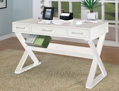 "This stylish, space-saving wooden desk will be a great addition to your home office, hallway or living room. The open top desk allows you room to spread out all of your paperwork while the drawers below help you get organized at the end of the work day. And, there's a cool shelf below that's perfect for housing books.  48""w x 24""d x 31""h."