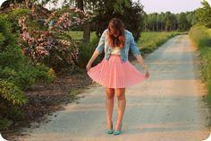 Vintage Skirt, H&M White Sequin Top, H&M Denim Jacket, Primark Shoes